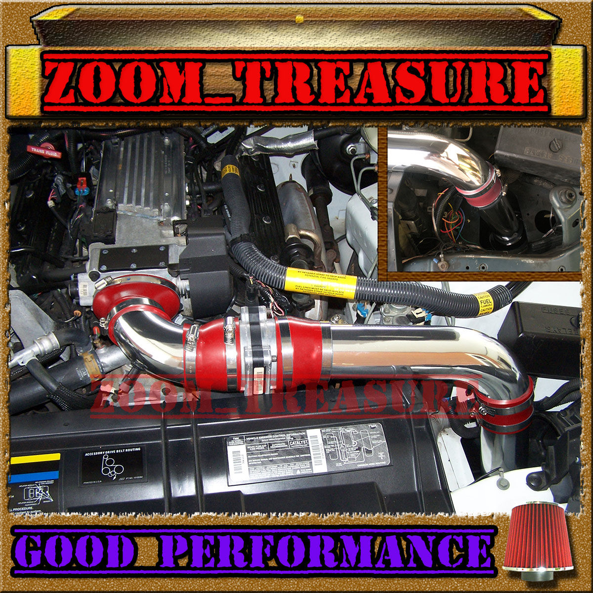 94-97 CHEVY CAMARO Z28 FORMULA TRANS AM 5.7L LT1 FULL COLD AIR INTAKE+CHF Red 3