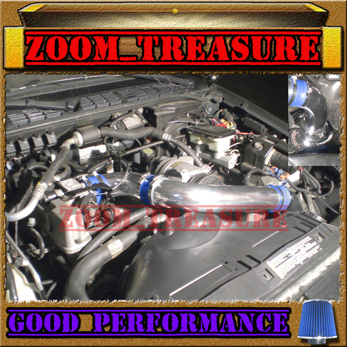 """94-97 CHEVY S10//XTREME//HOMBRE//SONOMA 2.2L FULL COLD AIR INTAKE KIT 3/"""" Red Blue"""