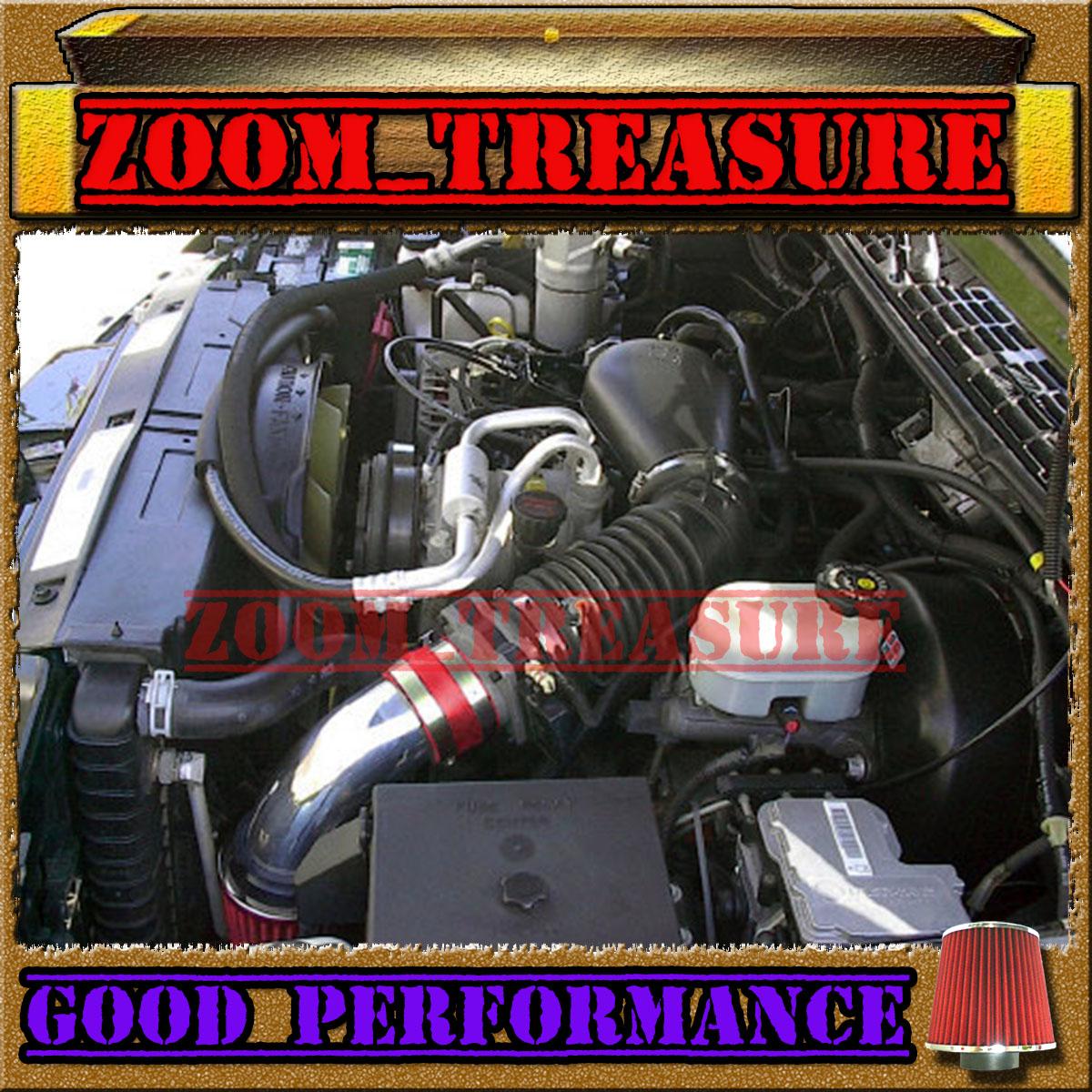 96 97-05 CHEVY S10 ZR2 ZR5 BLAZER SONOMA JIMMY 4.3L V6 COLD AIR INTAKE Red Blue