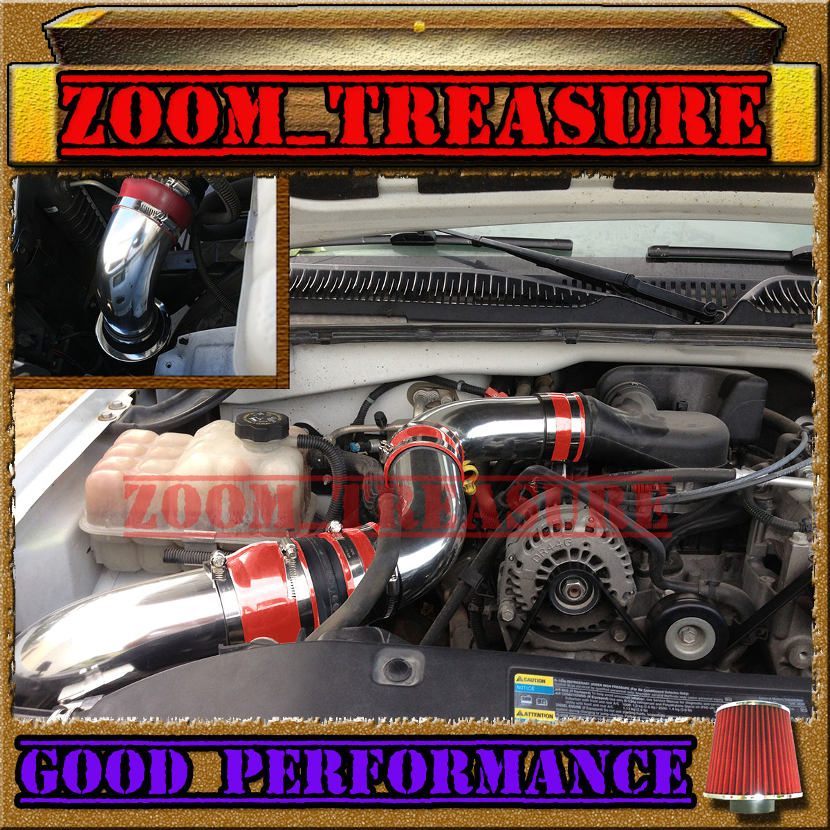 RED 99 00 01 02-07 CHEVY//GMC//CADILLAC TRUCK//SUV 4.8//5.3//6.0//8.1 COLD AIR INTAKE
