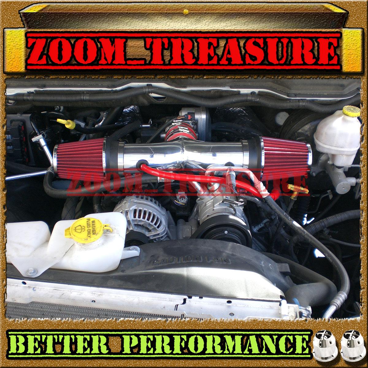RED BLUE DUAL 03 04 05-09 DODGE RAM//DURANGO//ASPEN 5.7L V8 HEMI TWIN AIR INTAKE