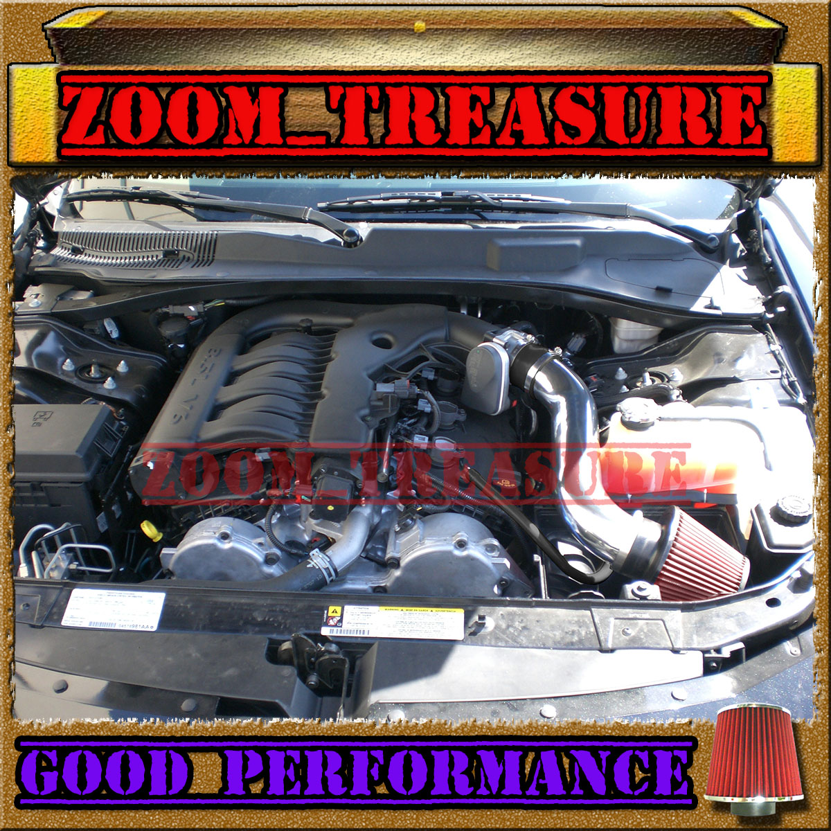 RED CHF 2005-2010 DODGE CHARGER//CHALLENGER//MAGNUM//300 2.7L 3.5L V6 AIR INTAKE S