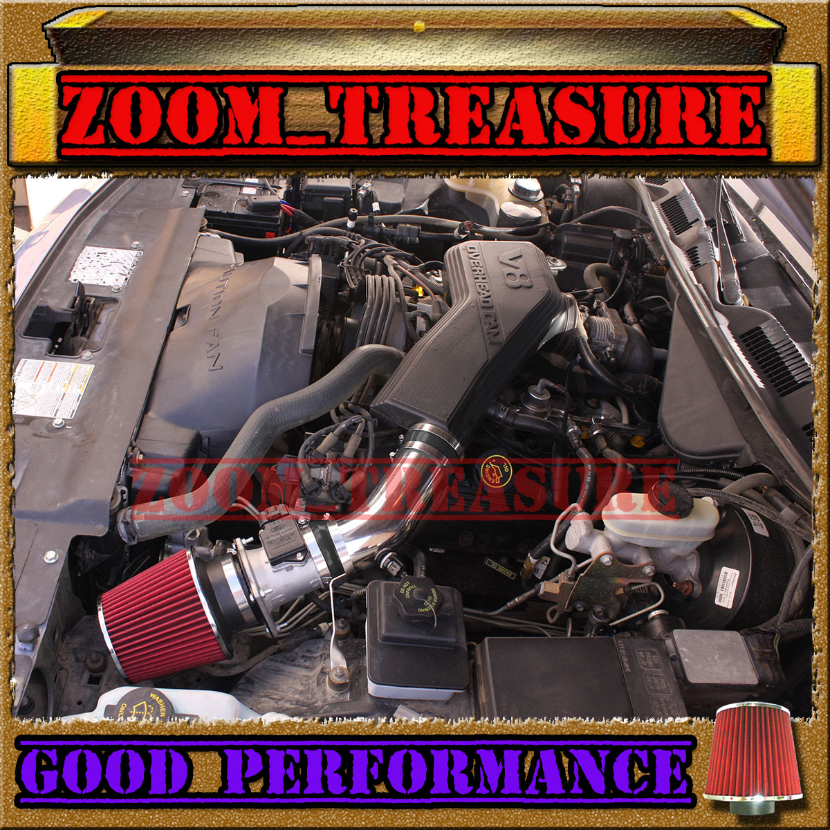 RED 1992-1995 FORD CROWN VICTORIA//LINCOLN TOWN CAR//MERCURY FULL AIR INTAKE KIT