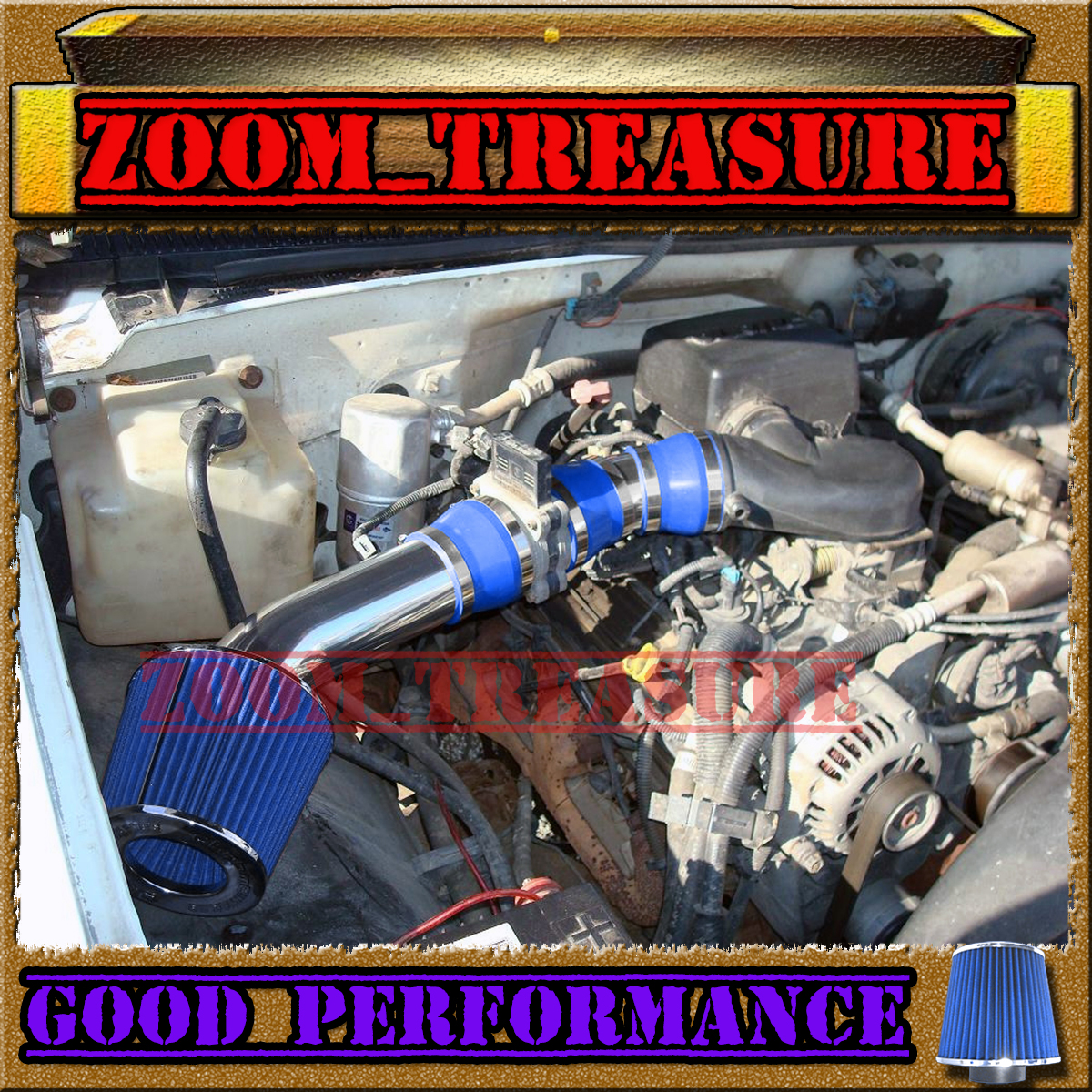 BLUE 1996-2000//96-00 GMC//CHEVY//CADILLAC SUV//TRUCK 5.0L 5.7L V8 AIR INTAKE KIT 2P